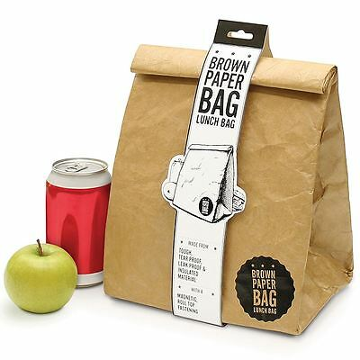 Luckies Retro American Style Brown Paper Bag Insulated Tyvek Lunch Box