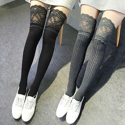 New Women Knit Lace Cotton Over Knee Thigh Stockings High Socks Pantyhose Tights