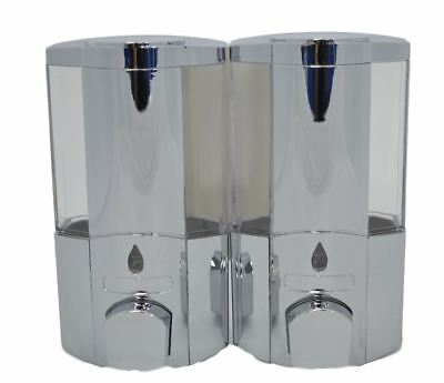 Soap Shampoo Bathroom Shower Twin Duo Chrome Touch Push Dispenser Wall Mounted