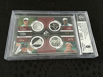 2014 UD SP Game Used Logo Tag Tiger Woods Rory Mcilroy Player & Miller 2/2 BGS 8