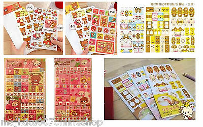 50% SALE!! Variety of Cute Rilakkuma Stickers / Bookmark Sheets