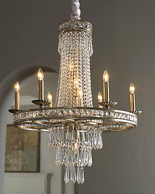NEW Horchow Neiman Marcus Round Antique Silver Drop Crystal French Chandelier