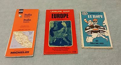 3 Vintage Road Maps Europe Italy AAA Michelin folding