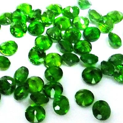 NATURAL TOP GREEN  CHROME DIOPSIDE GEMSTONES ( 3 pieces) ROUND SHAPE (3-3.2 mm)
