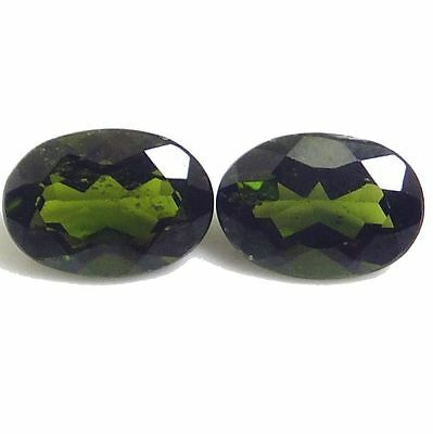 Natural Russian Green Chrome Diopside Gemstone (Pair) Oval Shape