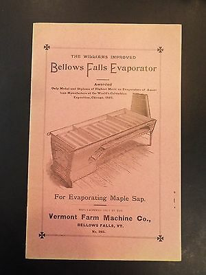 Vermont Farm Machine Co.Bellows Falls Sap Evaporator Antique Advertising Booklet