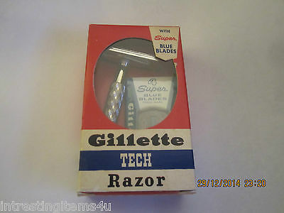 Vintage 1950's Nos. Gillette Tech Razor With Super Blue Blades
