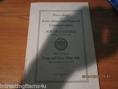 4 Wm Grand Lodge Of Saskatchewan Masons 1907, 1909, 1910, 1911 Proceedings Rare