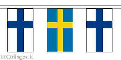 Sweden & Finland Polyester Flag Bunting - 5m with 14 Flags