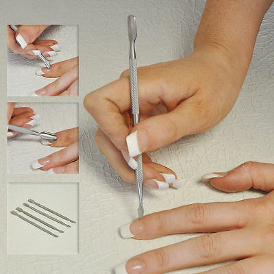 STAINLESS STEEL Dual Scraper Cuticle Pusher Manicure Gel Nail Art Remover Tool.
