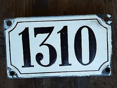 ANTIQUE FRENCH HOUSE NUMBER SIGN door PLATE PLAQUE Enamel steel Black white 1310