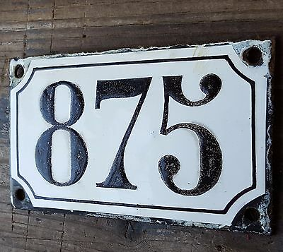 ANTIQUE FRENCH HOUSE NUMBER SIGN door PLATE PLAQUE Enamel steel Black white 875