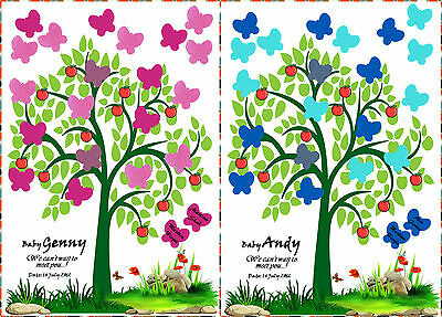 PERSONALISED Baby Shower Game Alternative To Traditional Guestbook TREE Boy,Girl