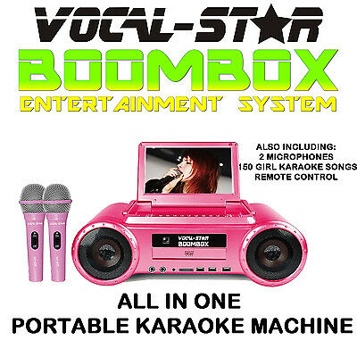 Vocal-Star Pink Boombox -Portable Karaoke Machine Player 2 Mics & 530 Songs