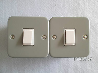 Deal Of Two 6Amp 1 Gang 2 Way Or 1 Way Switches Grey Metal Clad White Insert 6A.
