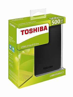 NEW Toshiba 500GB Canvio Basics USB 3.0 Portable External Hard Drive Festplatte