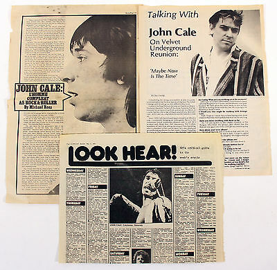 Velvet Underground John Cale Vintage Press, Media Clippings Collection
