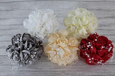 Stunning Colourfast Foam Rose Bud Posey With White Pearls Wedding Bouquet Ready