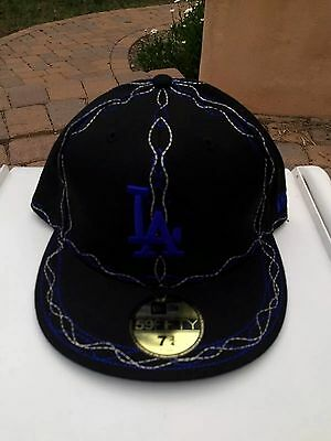 947cce289ac69 Los Angeles Dodgers 7 3 4 Baseball Cap Hat Fitted New Era RARE Stitching  Cross
