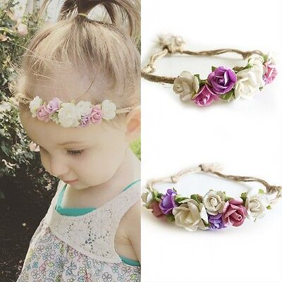 Flower Headband Kids Baby Girls Hemp Rope Hair Accessories Floral Headwear