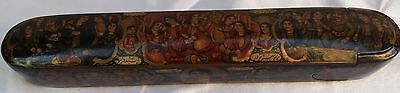 Magnificent 19Th C. Hand Painted Persian Qajar Pen Holder Qalamdon Box Signed An
