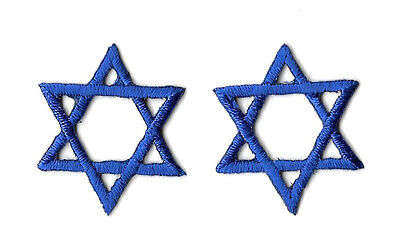 """Star Of David - Royal Blue - Embroidered Iron On Patch - Set Of 2 - 1"""" (2.5cm)"""