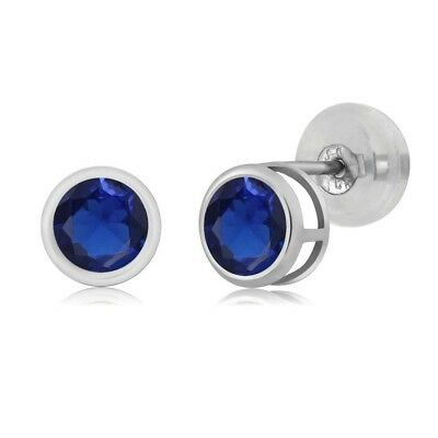 0.72 Ct Round 4mm Blue Sapphire 14K White Gold Stud Earrings