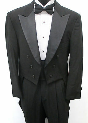 Black 6 Btn. Peak Tuxedo Tailcoat Halloween Costume Theater Vampire Dracula 40L