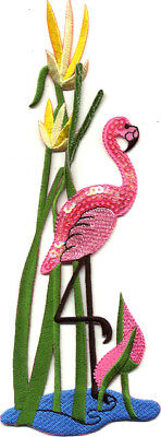 Flamingo - Tropical Bird - Pond - Embroidered/Sequin Iron On Applique Patch
