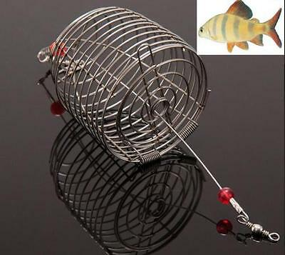 DZ1191 Stainless Steel Wire Fishing Bait Lure Cage Trap Basket Feeder Holder