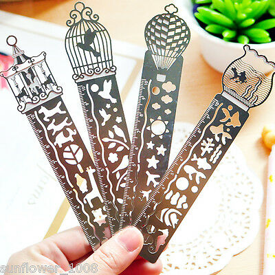 1PCS Paper Clips Ruler Shaped Metal Bookmarks Cute Bookmarks Random Fancy Design