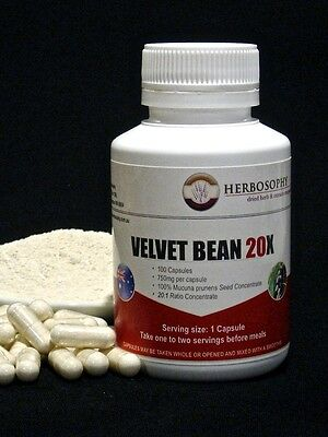 Velvet Bean 20X~Mucuna Pruriens Extract~100 Caps.~Fast & Free Postage Australia