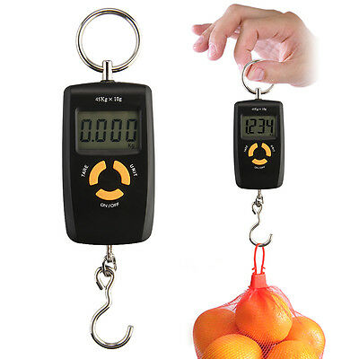 10G-45KG Digital Electronic Luggage Fish Hanging Hook Scale Black