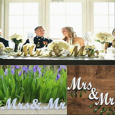 Mr and Mrs Wooden Letters Sign Freestanding Top Table Wedding Decor Centerpiece