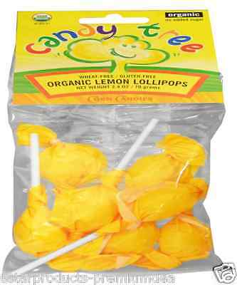 New Candy Tree Organic Lemon Lollipops Wheat Sugar Gluten Free Food Groceries