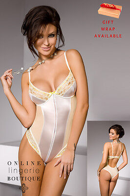 White / Cream Satin and Mesh Teddy Body Underwired Soft Cups