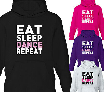 Girls Eat Sleep Dance Repeat Hoodie Kids Childrens Hoody D2 Design Ages 1-12Yrs