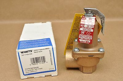 "New Watts Hot Water Heater Boiler Pressure Safety Relief Valve 3/4 "" 174A-030"