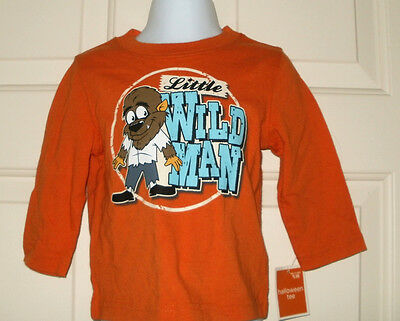 New Boys 12 Months Little Wild Man Halloween T-Shirt Long Sleeves 12M Werewolf