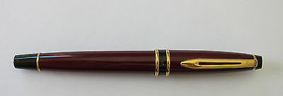 Waterman  Originalexpert Burgundy & Gold Trim  Rollerball Pen  In Box         **