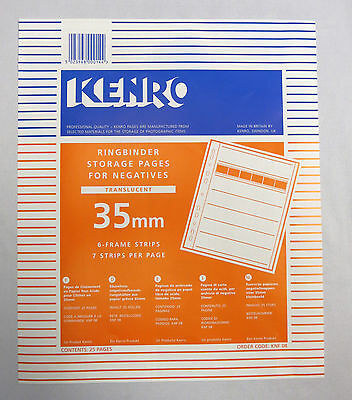 ORIGINAL Kenro Negative File Storage Pages 35mm Negative Translucent Page