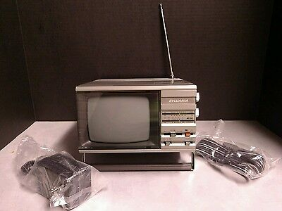 Sylvania 1984 Portable TV Black White New in Box Untested NIB Prop House Vintage