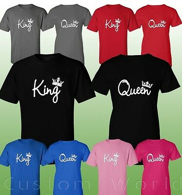 King & Queen Couple T-Shirts New Color Husband & Wife Matching His And Hers Tees