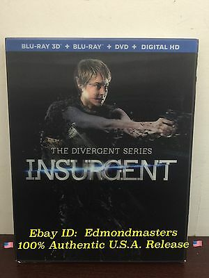 The Divergent Series: Insurgent - 3D Blu-ray + Blu-ray + DVD + Digital HD NEW!!