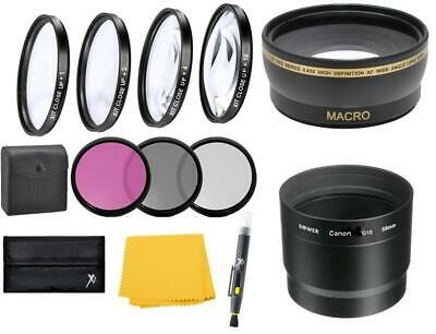 Wide angle Telephoto Filters Lens Kit for Canon PowerShot G12 G11 G10