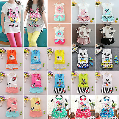 2PCS Kids Baby Girls Boys Mickey Mouse T-Shirt Tops+Shorts Pants Outfits Clothes