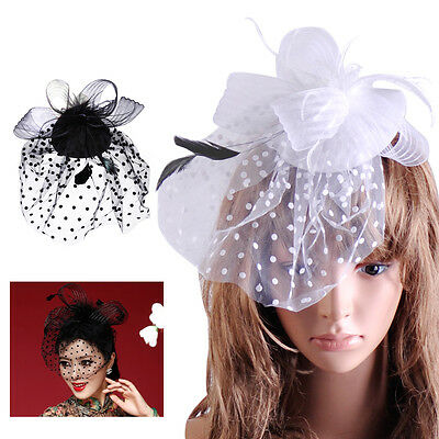 Women Hair Clips Wedding Races Party Fascinator Veil Net Hat Feathers Headpiece