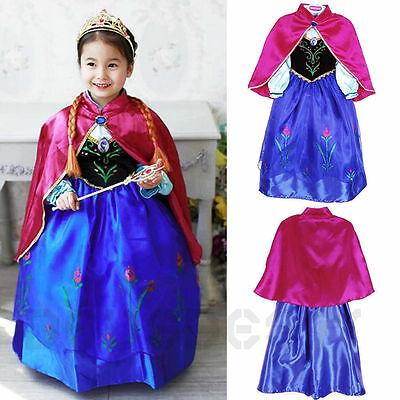 Frozen Dress Elsa Anna Princess Dress Kids Costume Party Fancy Snow Queen-01
