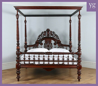 "Antique 6ft 6"" Victorian Anglo Indian Colonial Raj Super King Four Poster Bed"