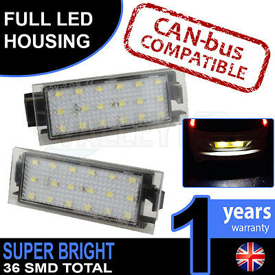 Renault Trafic Mk3 14-on Complete LED Number Plate Housings Canbus Super Bright
